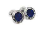 Round Blue & Crystal Cuff Links