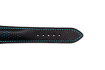Black Leather Watch Strap, Blue Stitch