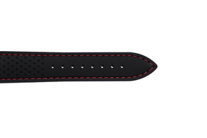 Black Silicone Strap, Red Stitch