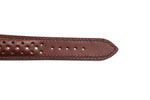 Brown Leather Rally Strap with Green Accent Stitching