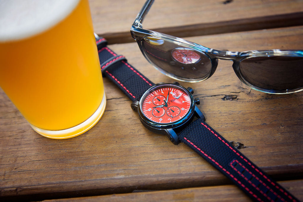 Black Kevlar Watch Strap, Red Stitch
