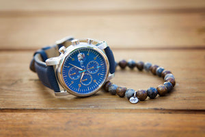 Blue Shrunken Leather Strap