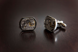 Watch Gear Cuff Links - Rectangular