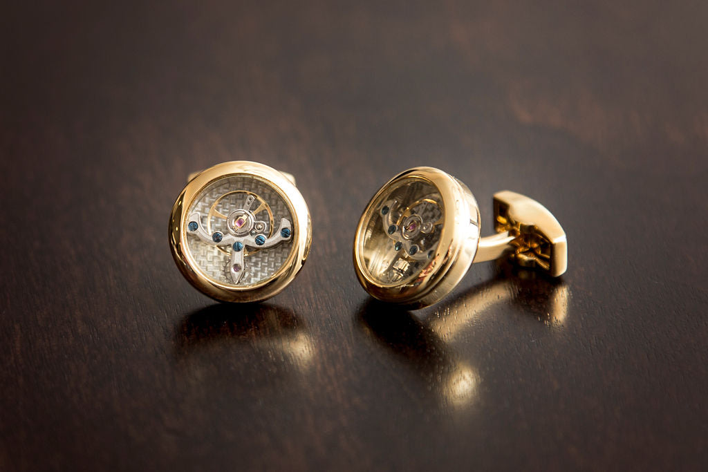 Yellow Gold Tourbillon Cuff Links