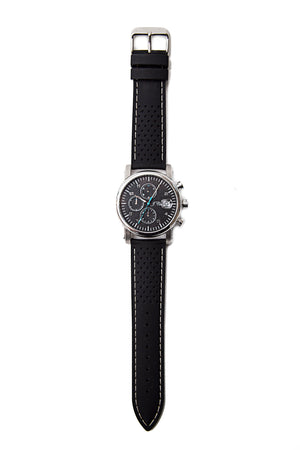Black Silicone Watch Strap, White Stitch