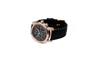 Black Silicone Watch Strap, Black Stitch