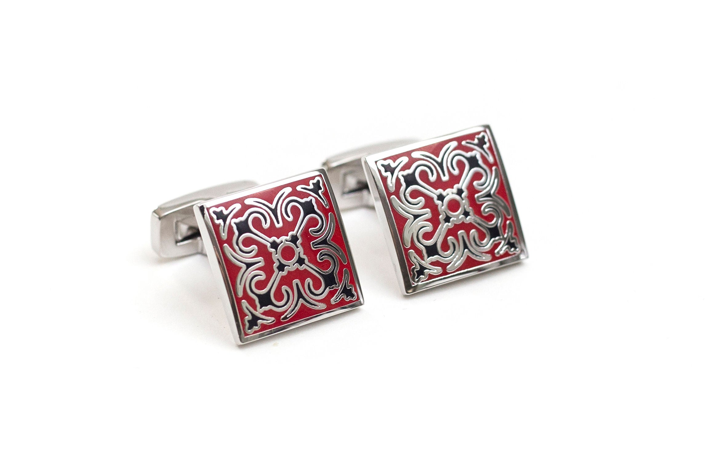 Red Mosaic Cuff Links