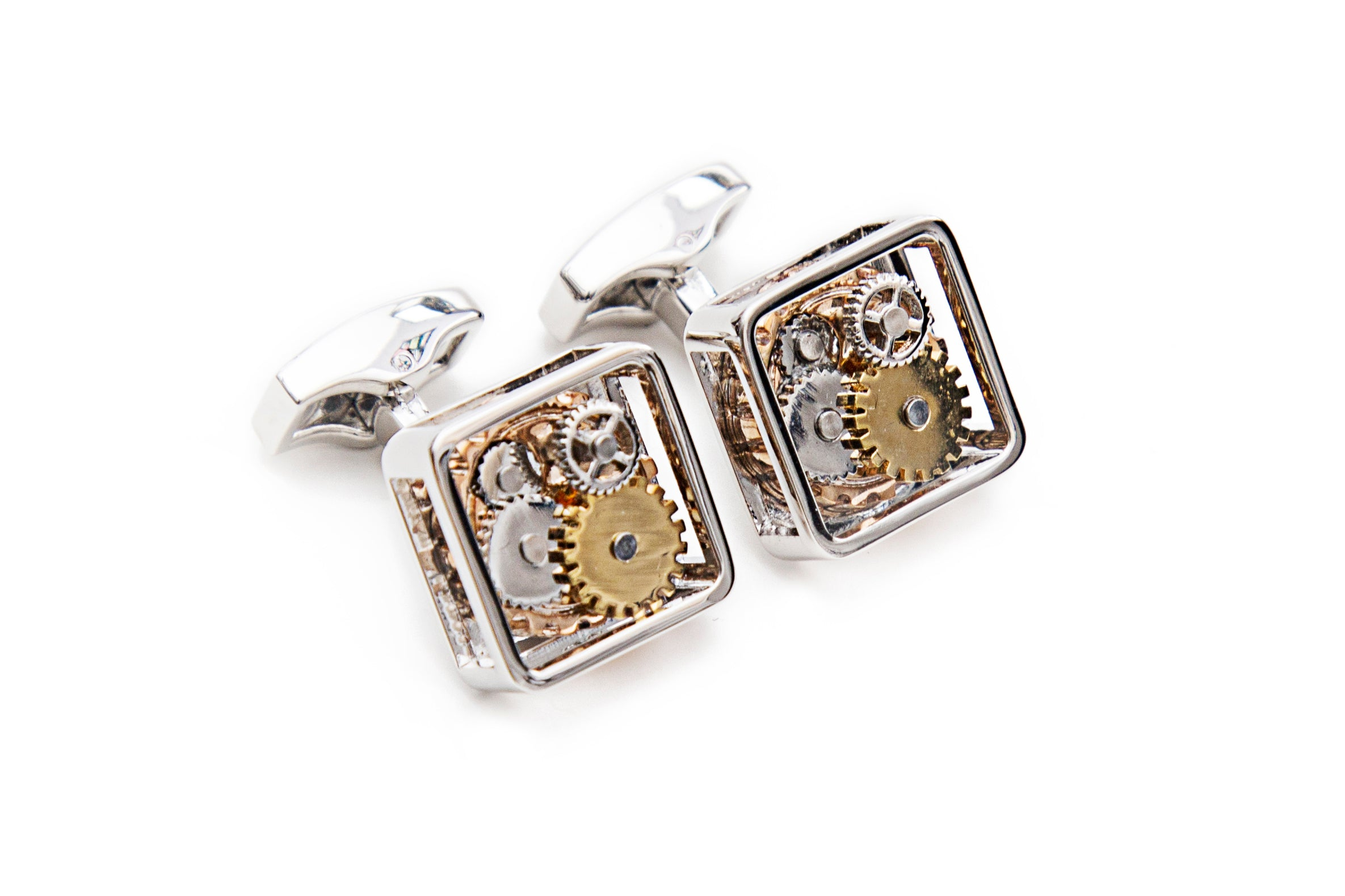 Silver Square Gear Cuff Links