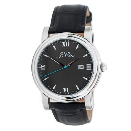 J.Ciro Ambassador Steel Black Dress Watch