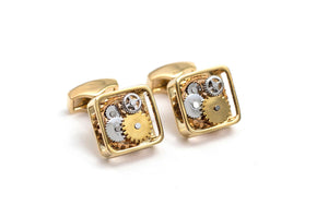 Yellow Gold Square Gear Cuff Links