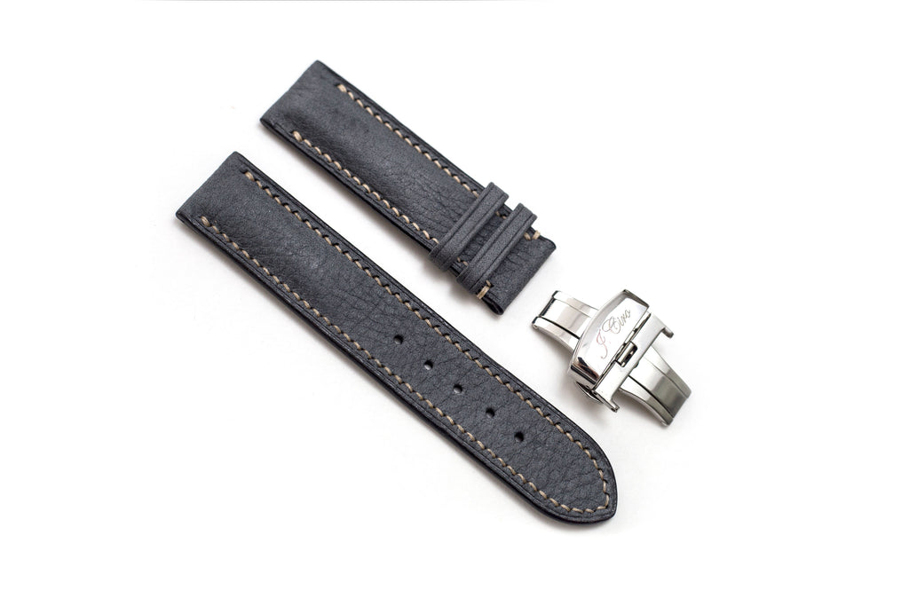 Limited Edition: Grey Leather Watch Strap, White Stitch, Butterfly Clasp