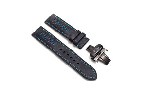 Limited Edition: Black Leather Watch Strap, Blue Stitch, Butterfly Clasp