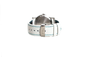 Limited Edition: White Leather Watch Strap, Blue Stitch, Butterfly Clasp