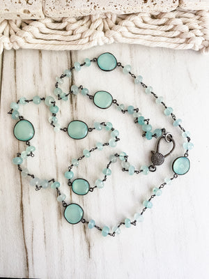 Blue Chalcedony and Diamond Necklace