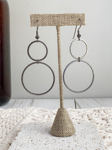 Gunmetal Double Circle Earrings