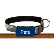 Shop for handmade custom pet dog and cat leashes, collars and tags made of military uniforms