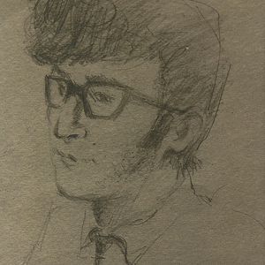 An original 1959 sketch of John Lennon by fellow student Helen Anderson. Copyright Helen Anderson. All rights reserved.