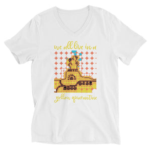 YELLOW QUARANTINE Unisex V-Neck T-Shirt
