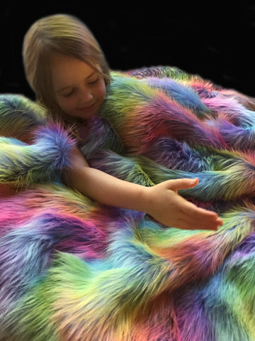Luxury Rainbow Faux Fur Weighted Blanket - Happy Senses