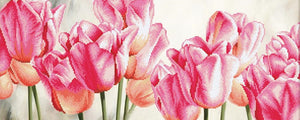 Pink Tulips Printed Cross Stitch Kit, Luca-s