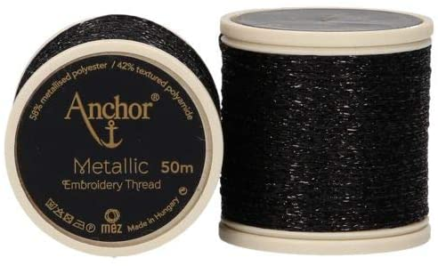 Anchor Metallic Embroidery Thread, Hand Embroidery 50m - Black 342