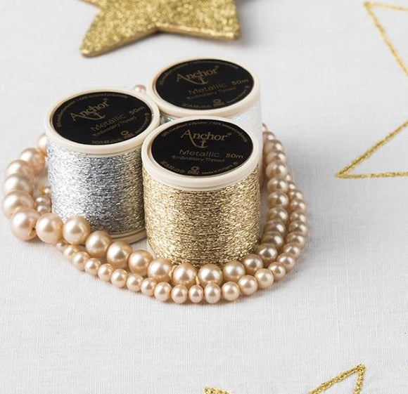 Anchor Metallic Embroidery Thread, Hand Embroidery SET of 3 - Gold/Silver/Opalescent