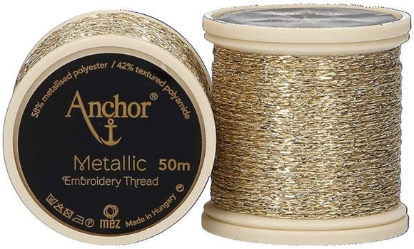 Anchor Metallic Embroidery Thread, Hand Embroidery 50m - Gold 300