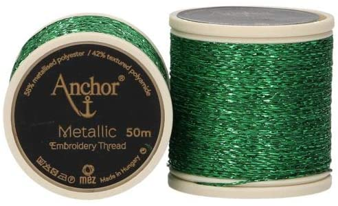 Anchor Metallic Embroidery Thread, Hand Embroidery 50m - Green 322