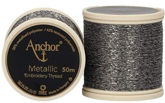 Anchor Metallic Embroidery Thread, Hand Embroidery 50m - Grey 324