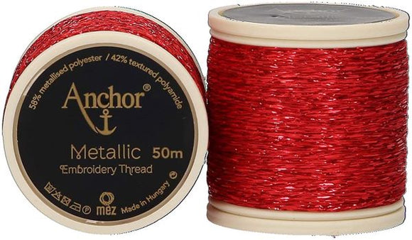 Anchor Metallic Embroidery Thread, Hand Embroidery 50m - Red 318