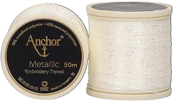 Anchor Metallic Embroidery Thread, Hand Embroidery 50m - Opal White 304