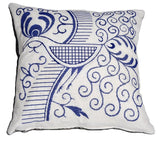 Embroidery Kit Indigo Bird, Modern Embroidery Cushion Cover