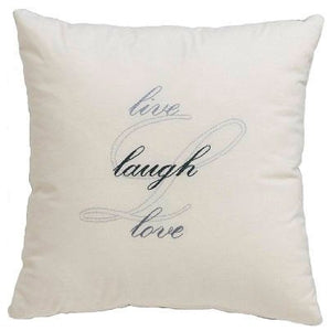 Embroidery Kit Live, Laugh, Love, Blue Modern Embroidery Cushion Cover