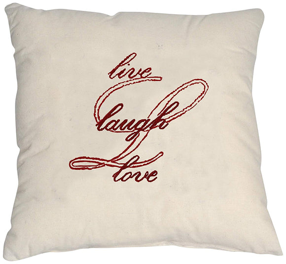 Embroidery Kit Live, Laugh, Love, Red Modern Embroidery Cushion Cover
