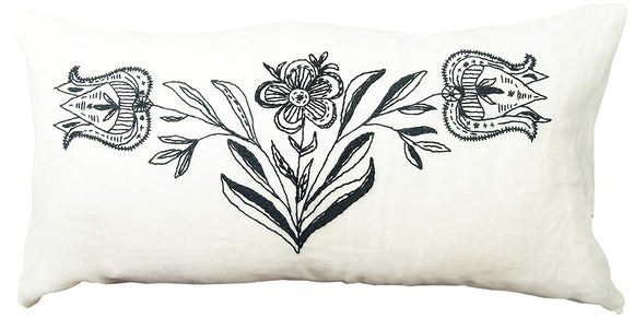 Embroidery Kit Mono Floral, Modern Embroidery Cushion Cover