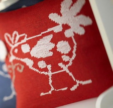 French Hen Red Cushion Cover, Counted HALF Cross Stitch Kit