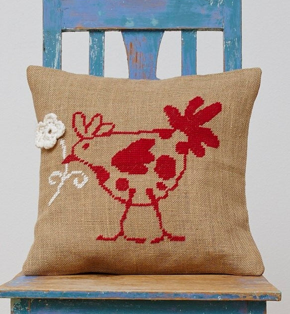 French Hen Cushion Cover, Counted HALF Cross Stitch Kit