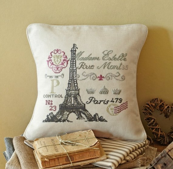 Cross Stitch Kit French Postcard, Counted Cross Stitch Kit