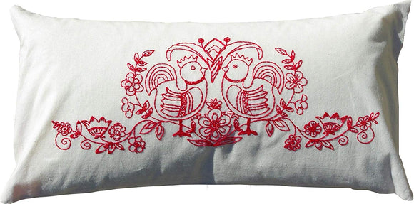 Embroidery Kit Scandinavia Red, Modern Embroidery Cushion Cover