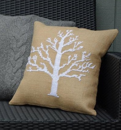 Winter Snow Tree Cushion Cover, Counted HALF Cross Stitch Kit