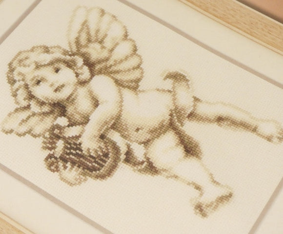 Cherub Angel with Harp Cross Stitch Kit, Vervaco pn-0021849
