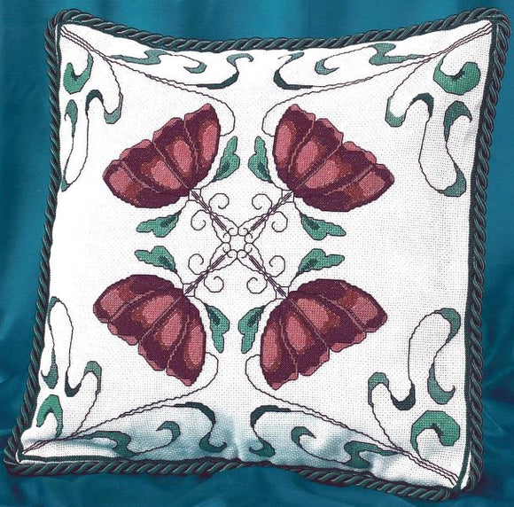 Art Nouveau Flower Cross Stitch Kit, Pink BT300