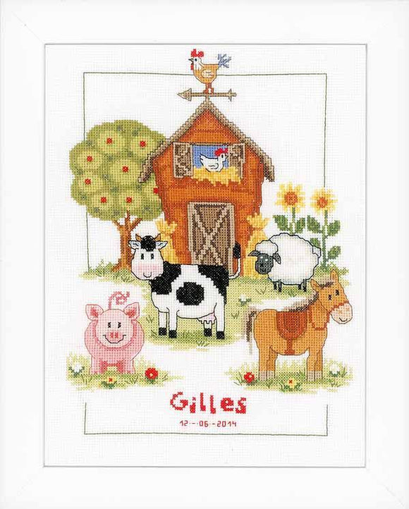 At the Farm Birth Sampler Cross Stitch Kit, Vervaco PN-0148149