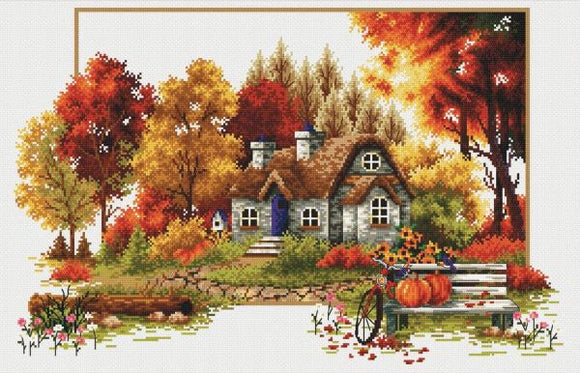 Autumn Cottage NO-COUNT Printed Cross Stitch Kit N640-047