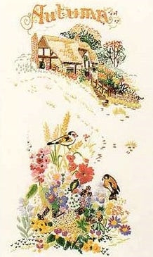Embroidery Kit Autumn Cottage Garden, Design Perfection E131