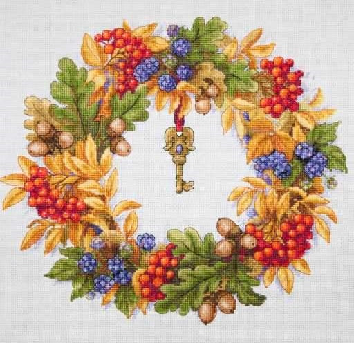 Autumn Wreath Cross Stitch Kit, Merejka K-099