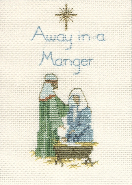 Away in a Manger Cross Stitch Christmas Card Kit, Derwentwater Designs