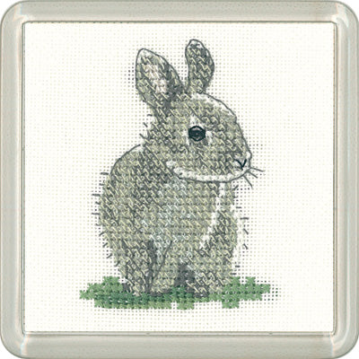Baby Rabbit Cross Stitch Kit, Heritage Crafts -Little Friends Coaster/Mini Kit
