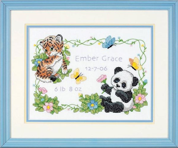 Baby Animals Birth Sampler PRINTED Cross Stitch Kit, Dimensions D73065