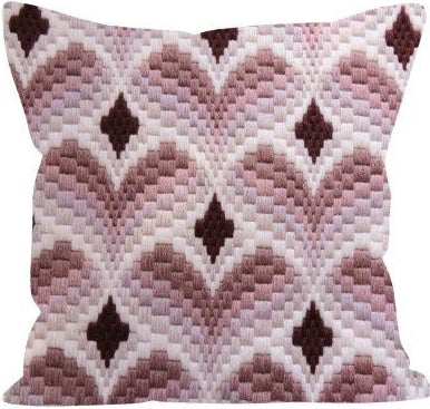 Bargello Cuori COUNTED Tapestry Needlepoint Kit, Designer's Needle